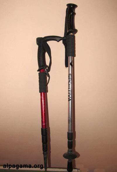 4-х и 3-х секционные палки (4-х секционная заметно компактней в сложенном виде, но и менее крепкая). Трекинговые палки