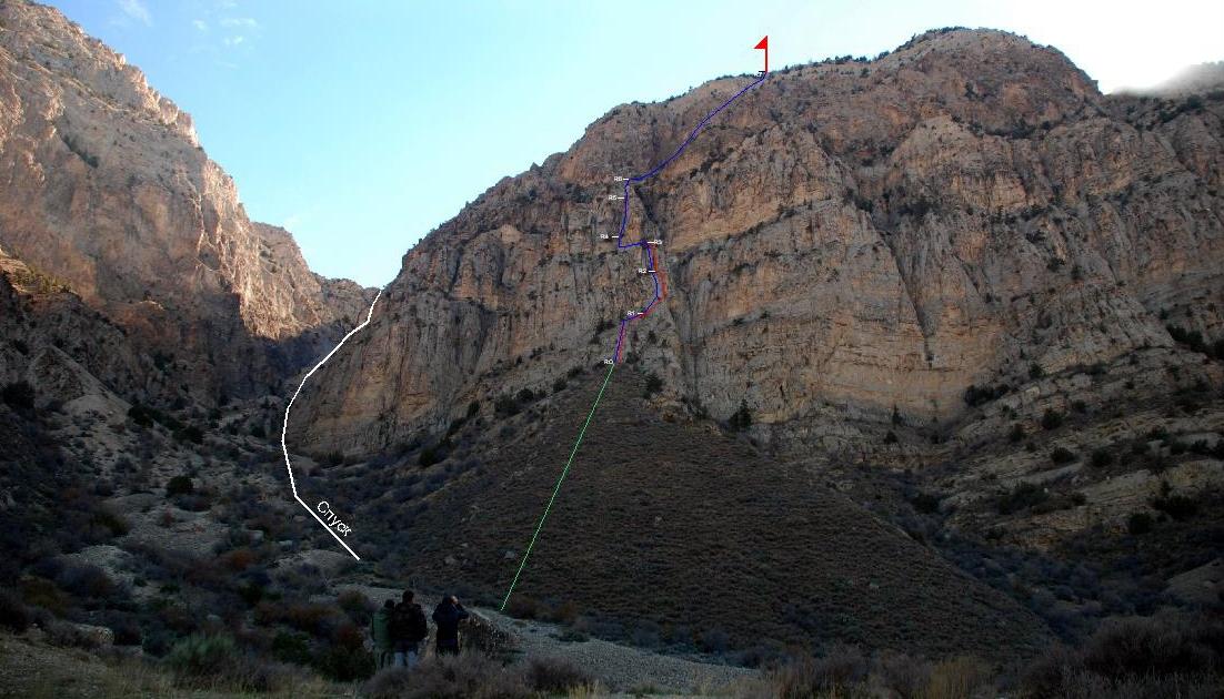 Маршрут: Северная сторона Большого Балхана, местечко Карамерген, Справа первый контрфорс (неявно выраженное ребро на крутом склоне горы) от Эшек ёл.