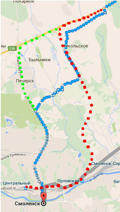 Схему маршрута Ярцево - Смоленск