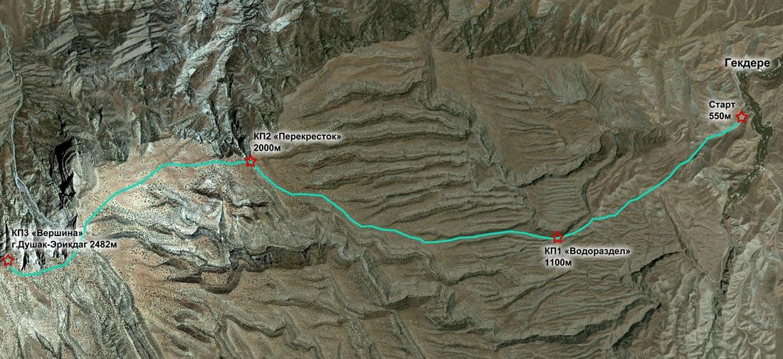Схема забега на вершину Душак-Эрикдаг