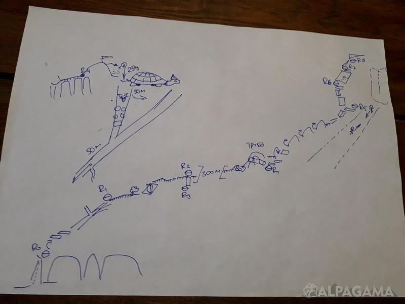 Схема маршрута Октябренок  по северо-северо-западному гребню 2Б