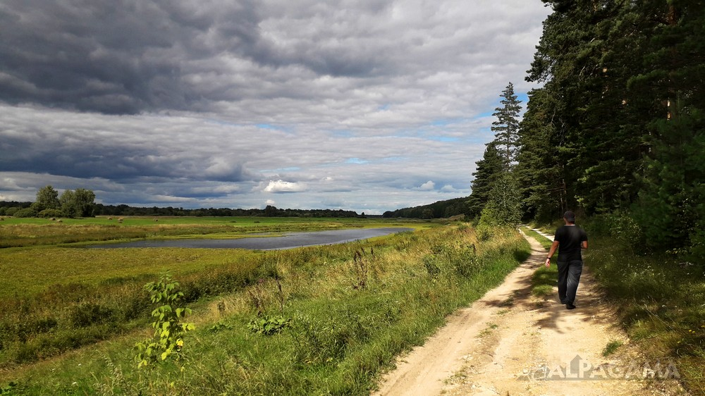 Дорога к граду Стародуб между рекой и лесом