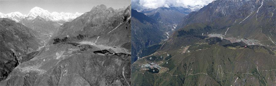 Деревни Намче-Базар, Кунде и Кхумджунг, видимые со склонов Тамсерку в 1956 (Фото: А. Байерс) и в 2018 (Фото: L N Sherpa)