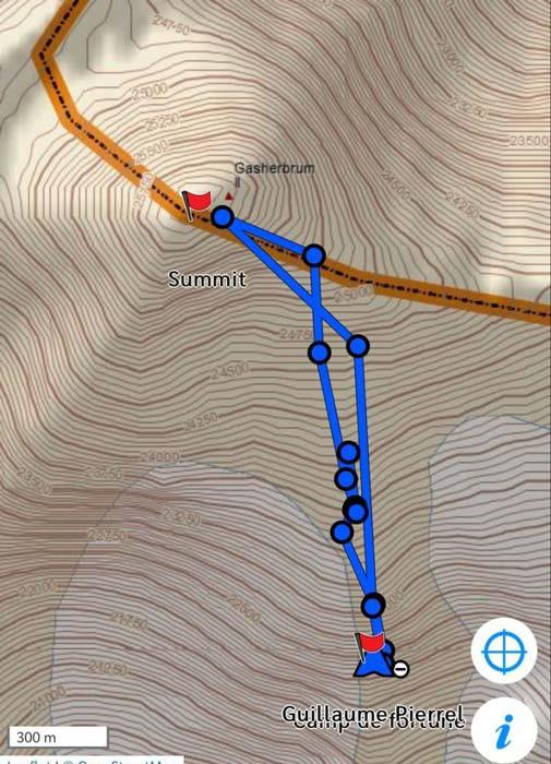Трек восхождения французской команды на Гашербрум II