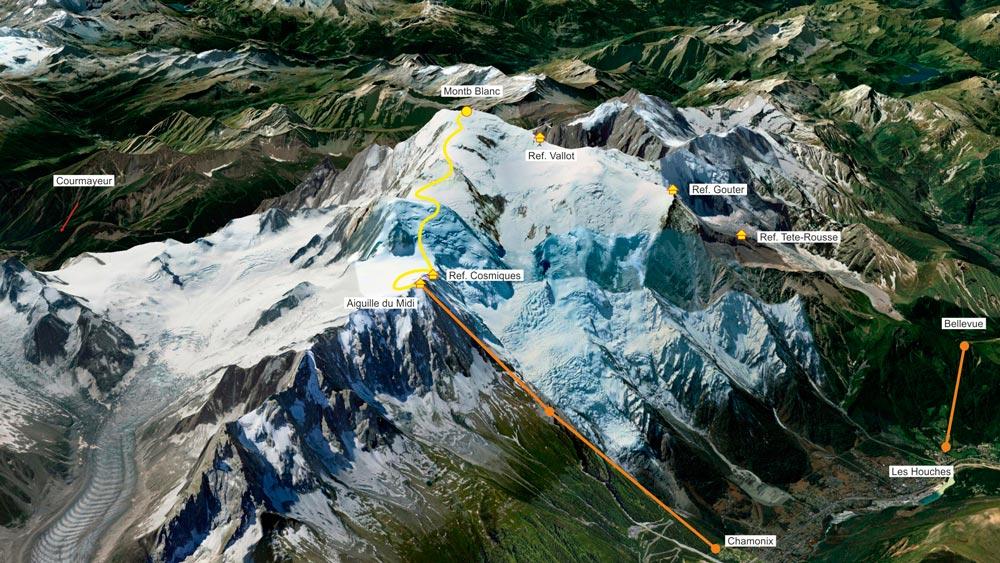 Маршрут восхождения на Монблан через три вершины
